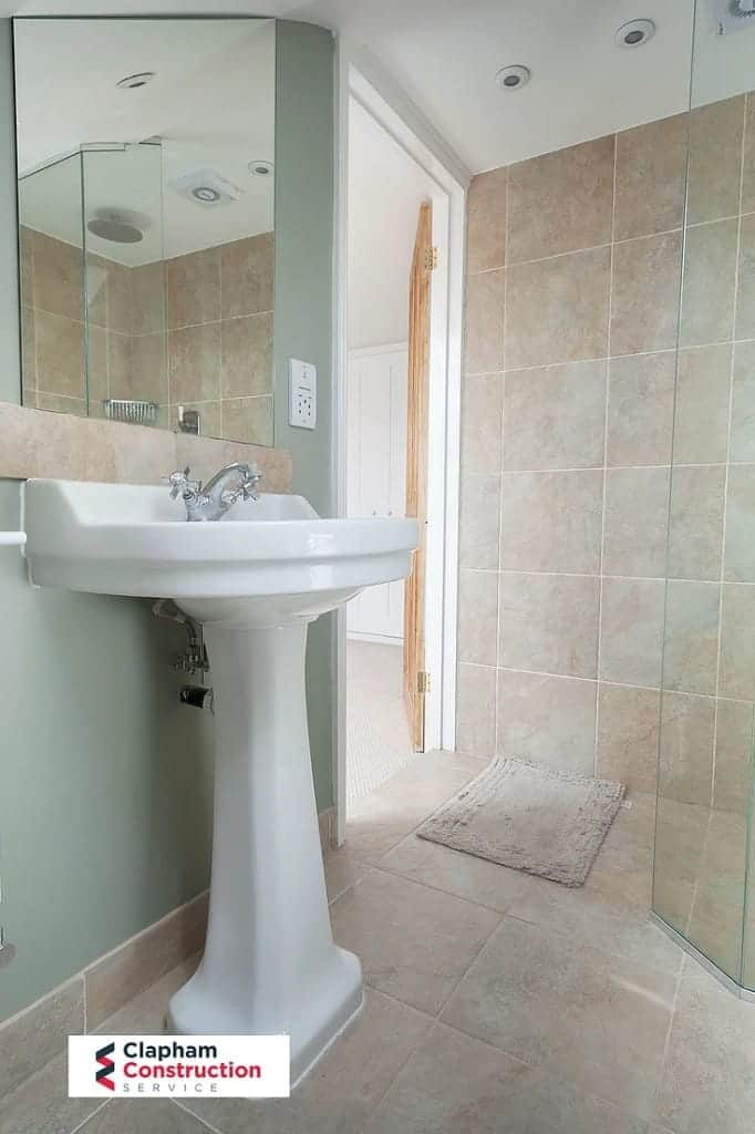 completed bathroom loft conversion view of sink