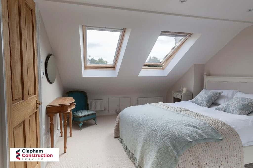 finished loft conversion of guest bedroom with two skylights