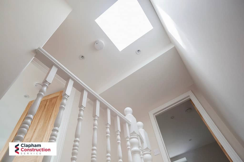 completed loft conversion view of skylight on landing