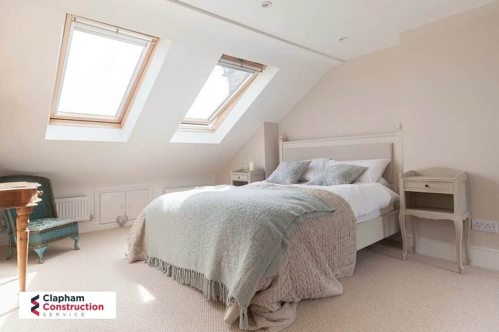 different view of finished loft conversion with two skylights