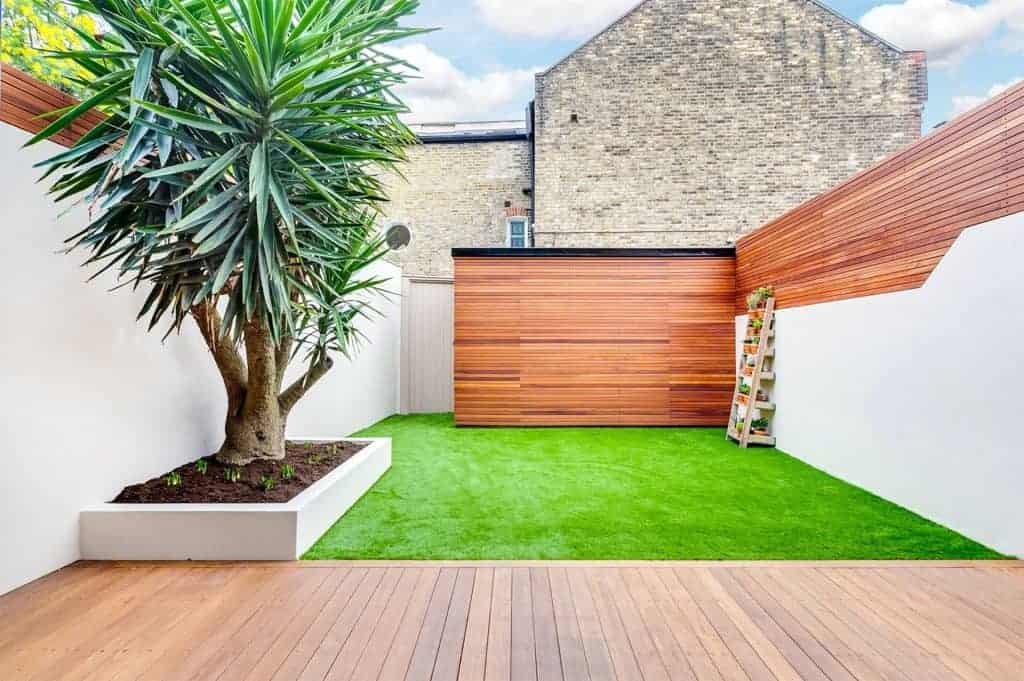 completed home extension with garden design