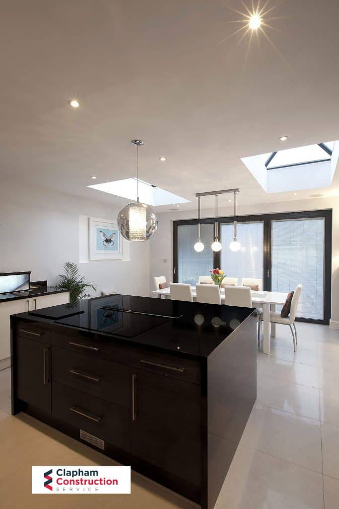 dark island home extension kitchen