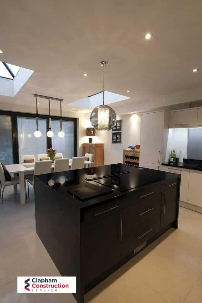 home extension open planned kitchen dark island