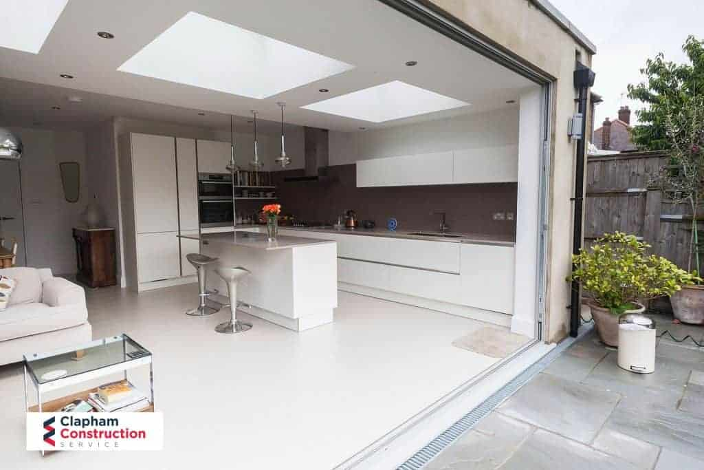 completed home extension complete width bi-folding doors