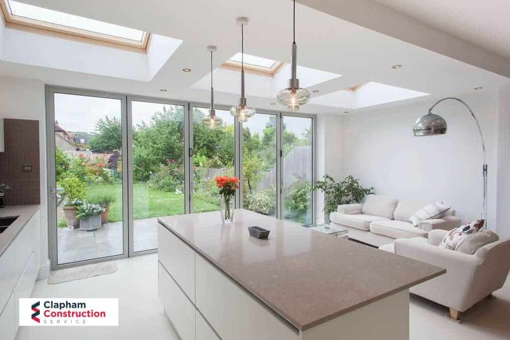 completed home extension open planned kitchen light