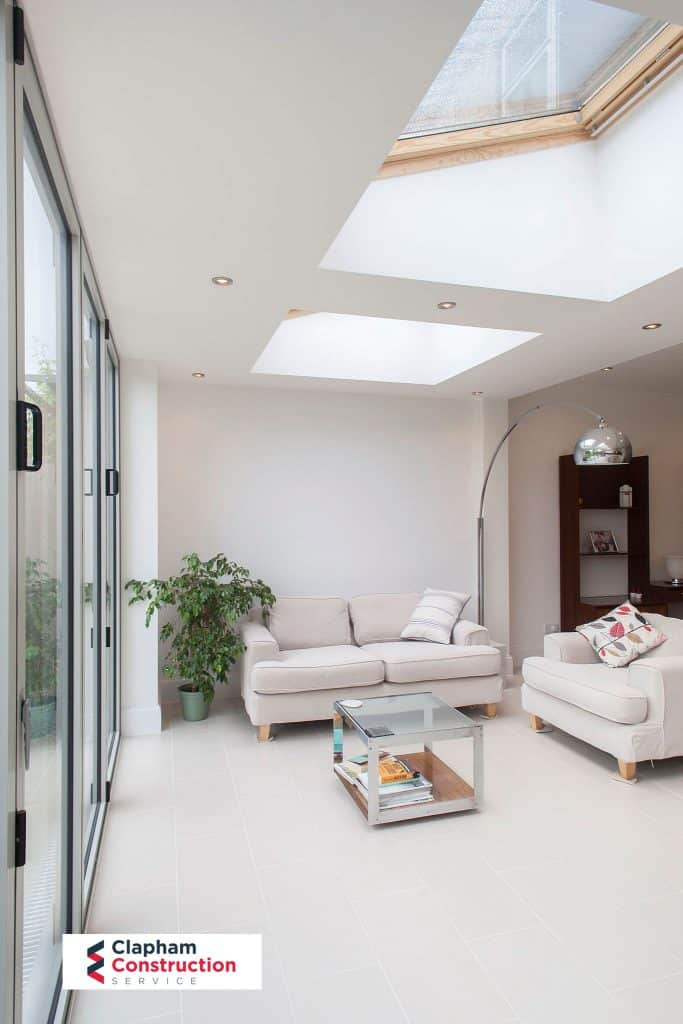 completed home extension open planned sitting area - house extension inspiration london