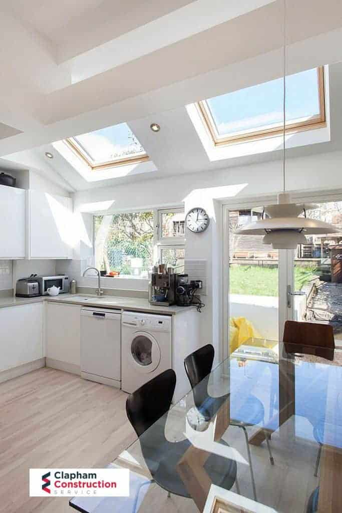 completed home extension kitchen skylights