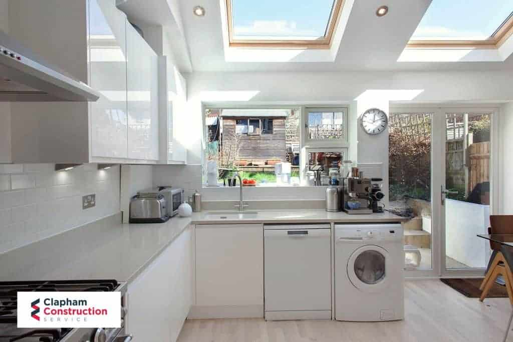 completed home extension kitchen skylights washing machine