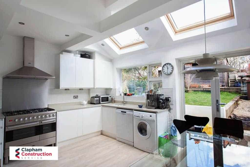 completed kitchen extension skylight and double doors