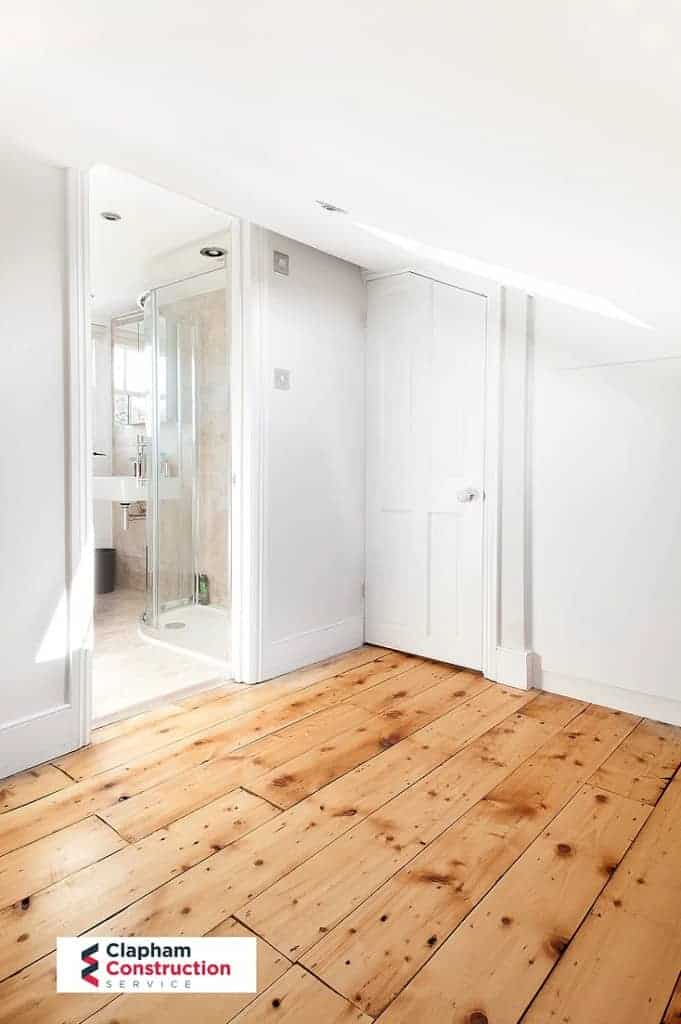 completed loft conversion with oak wooden floor