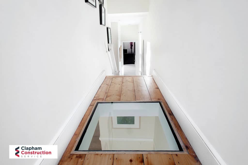 glass in floor of loft conversion staircase