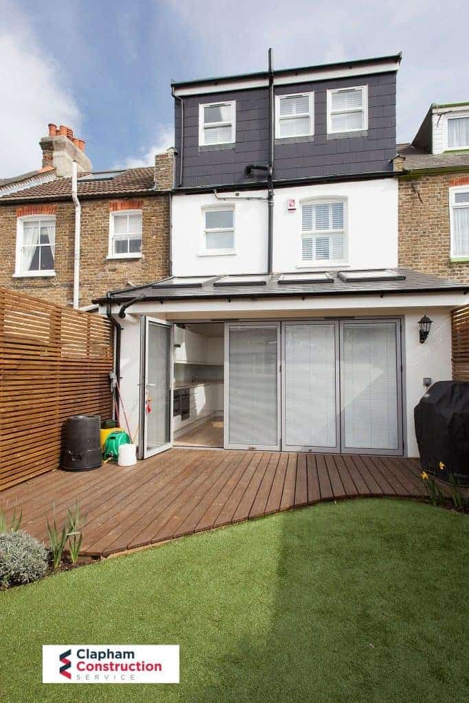 completed home extension and loft conversion garden view