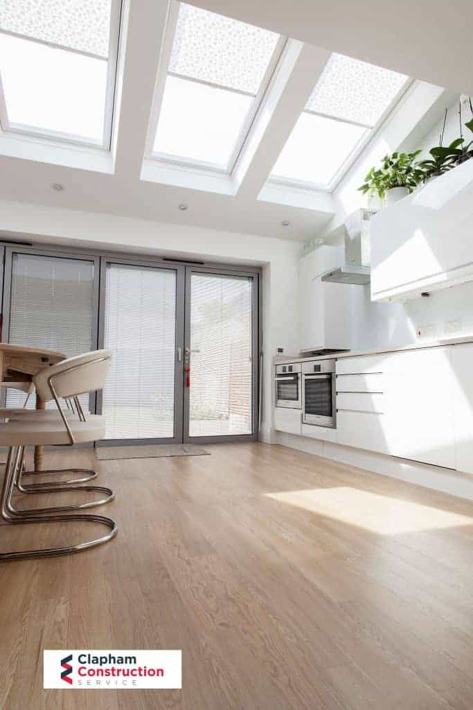 completed home extension kitchen white styling skylight