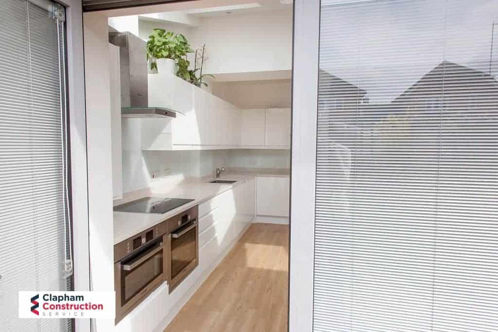 completed home extension kitchen one door open