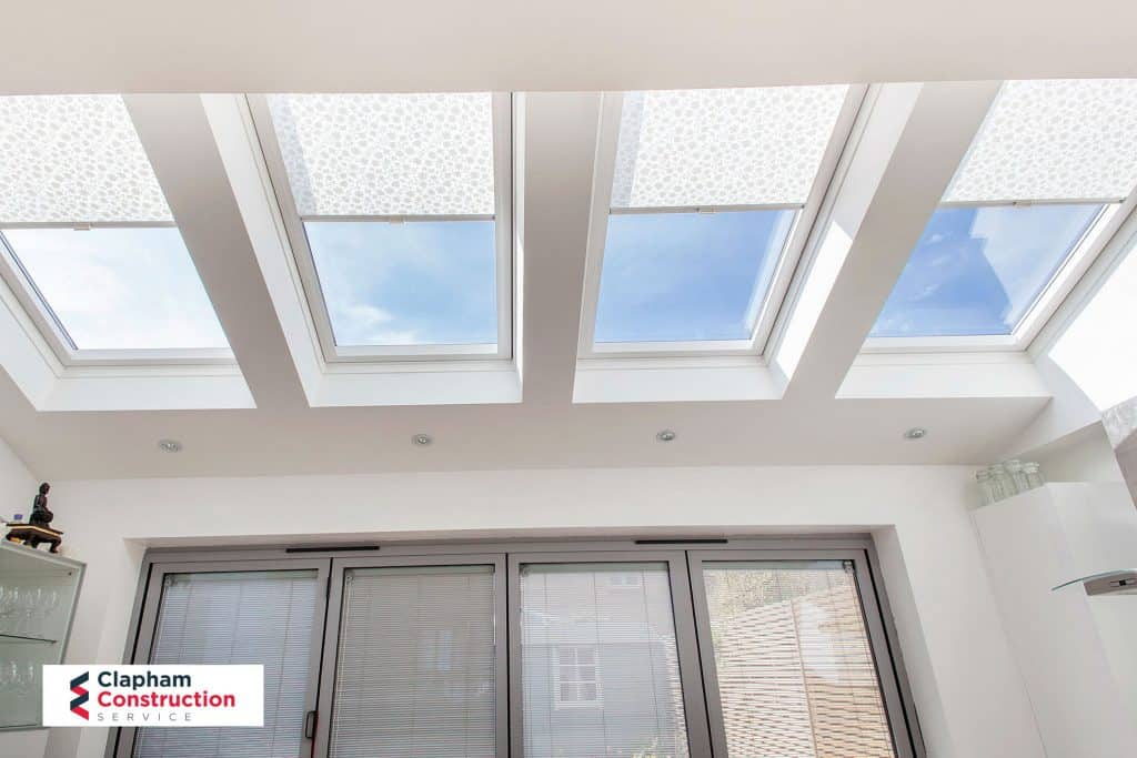 completed kitchen home extension view of skylights