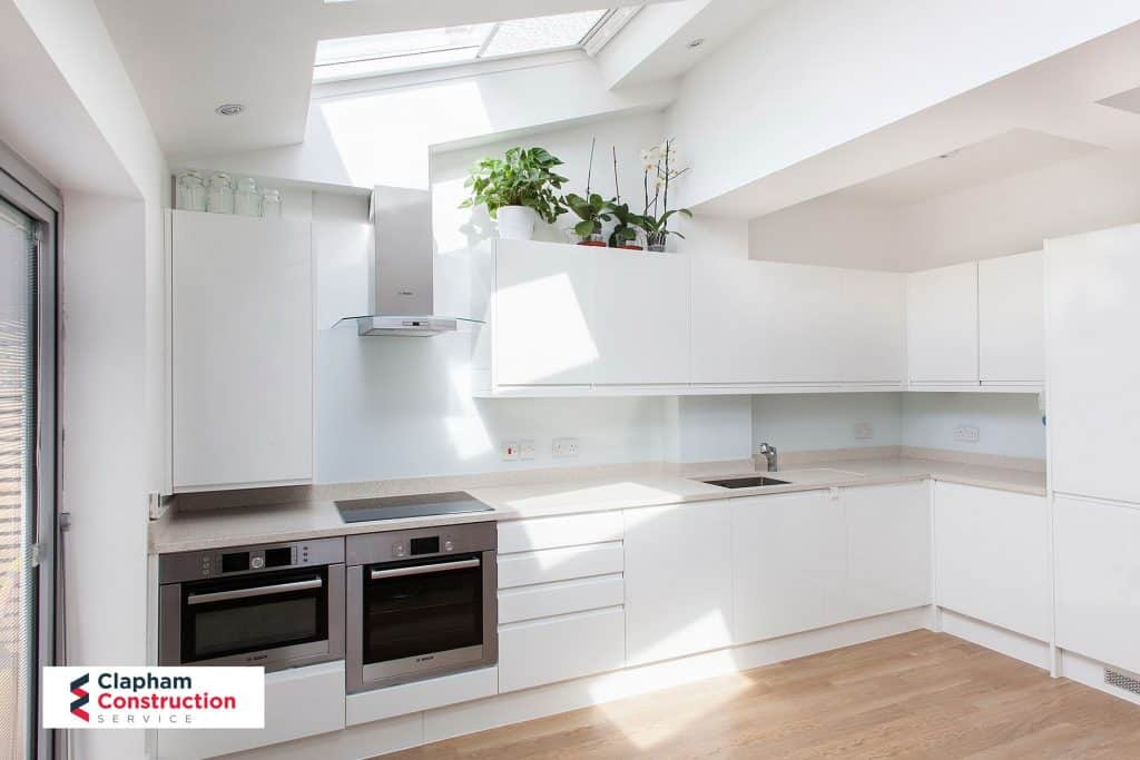 completed kitchen home extension all white