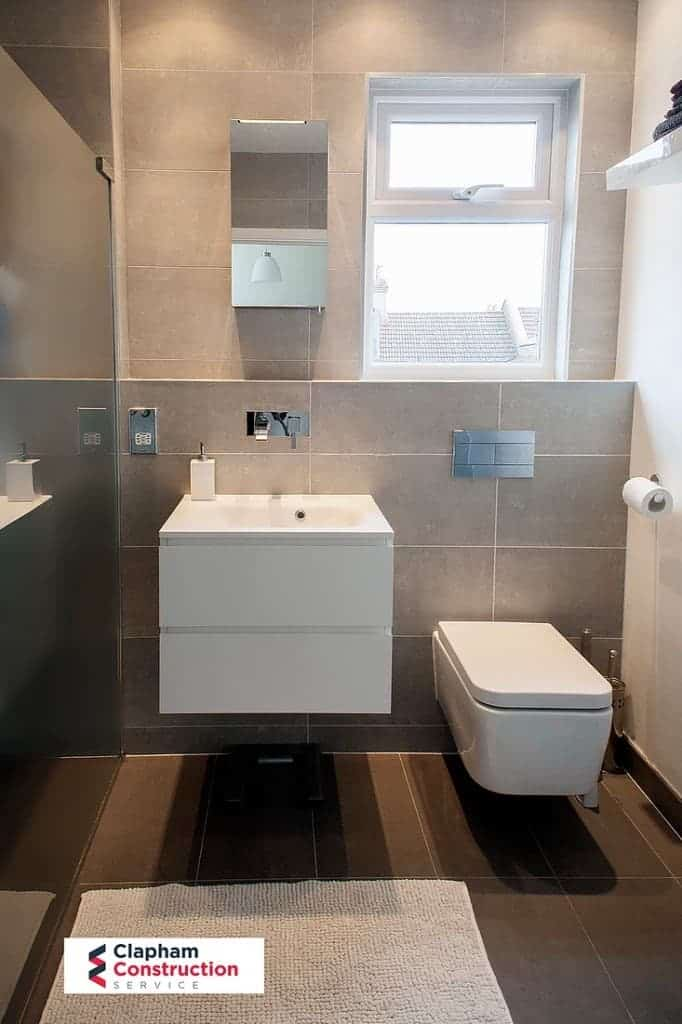 finished loft extension floating sink and toilet