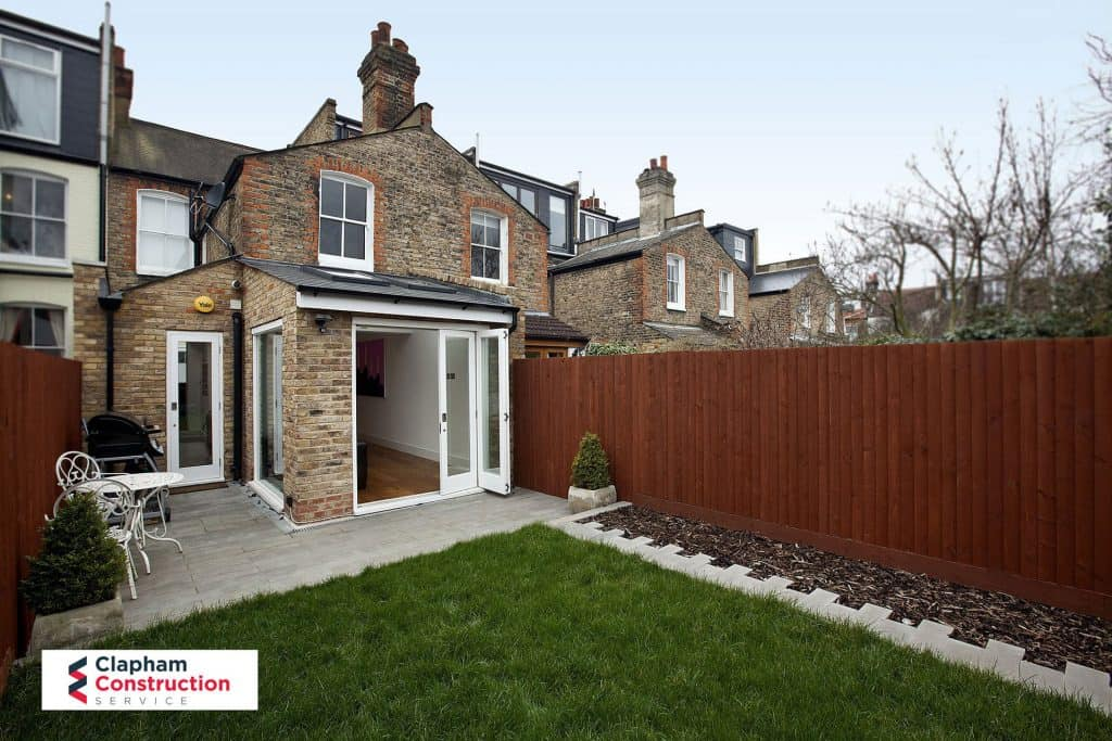completed home extension entertaining garden