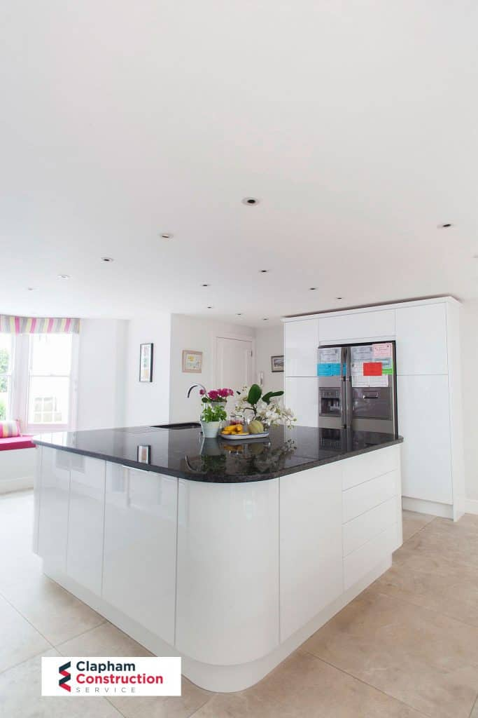 completed home extension kitchen island