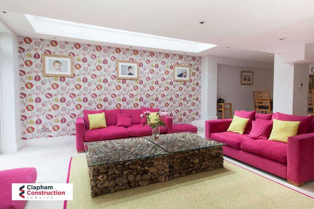 open planned living room home extension