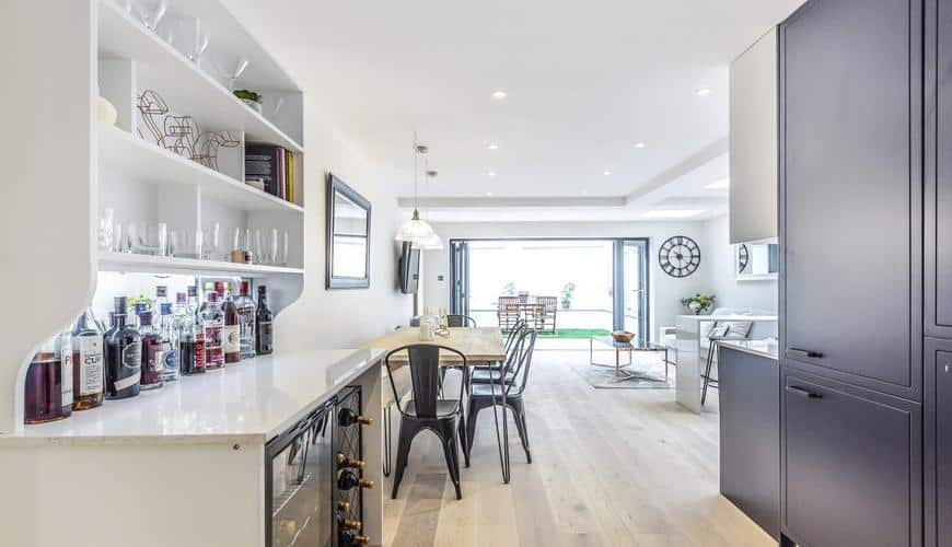 home extension kitchen with sideboard for drinks