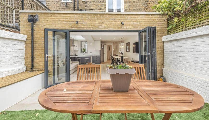 completed home extension garden view