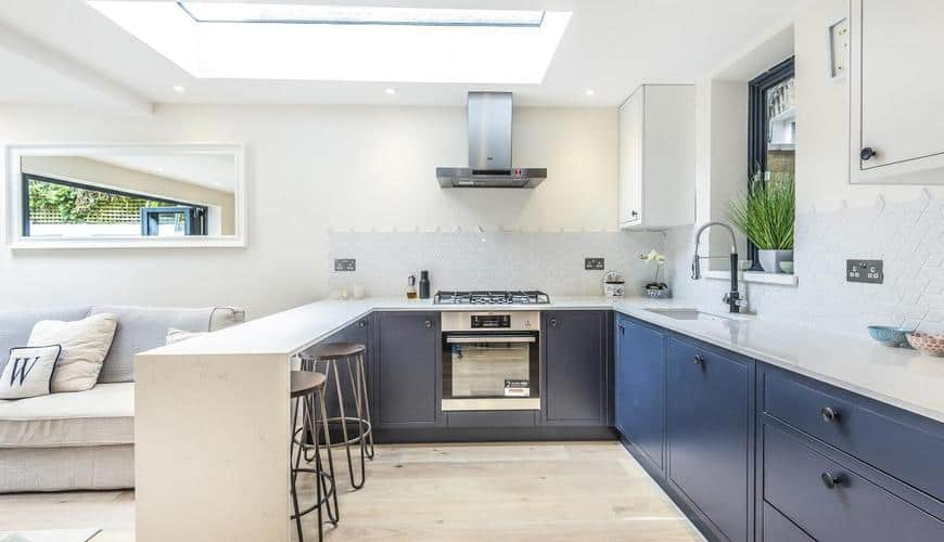 completed open planned kitchen home extension
