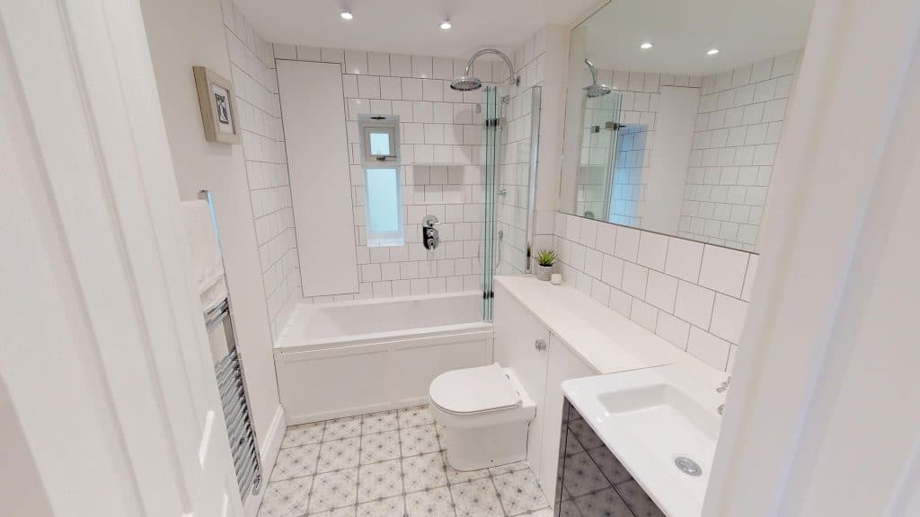 completed loft conversion white bathroom