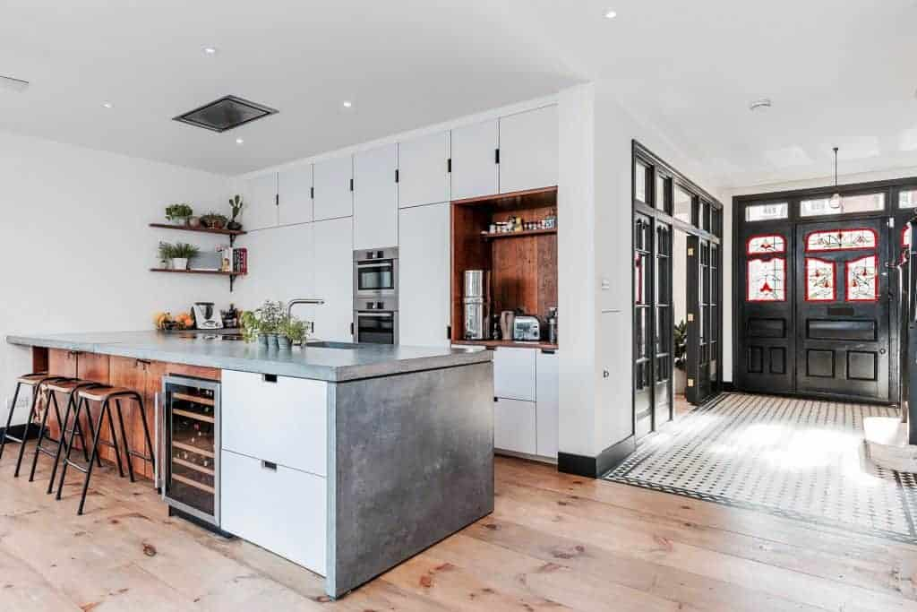 completed home extension dark front door