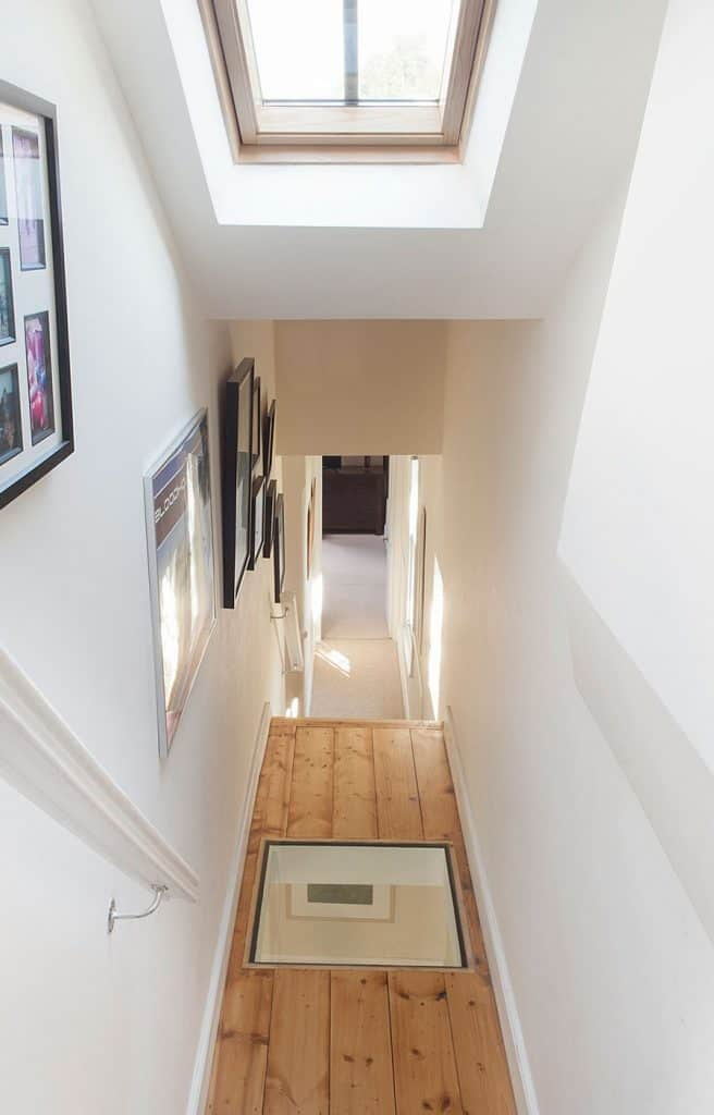completed loft conversion with glass floor