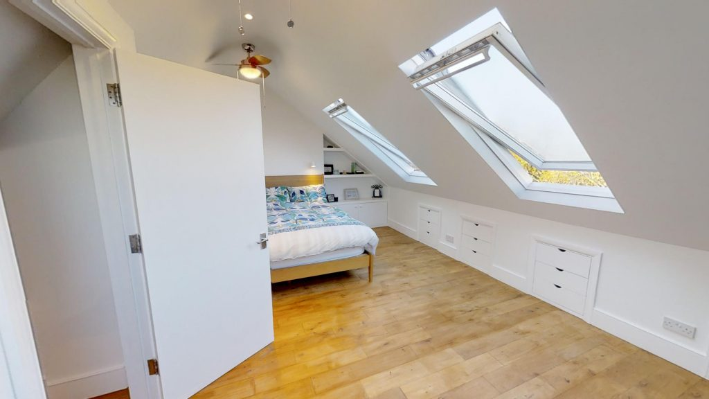 loft extension completed double skylight wooden floor