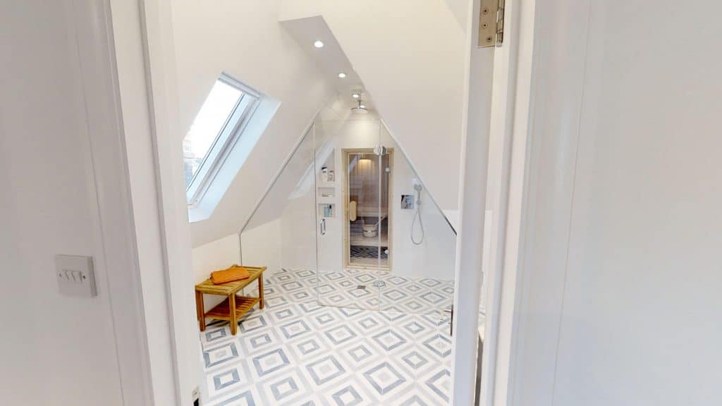 completed bathroom loft extension with steamroom