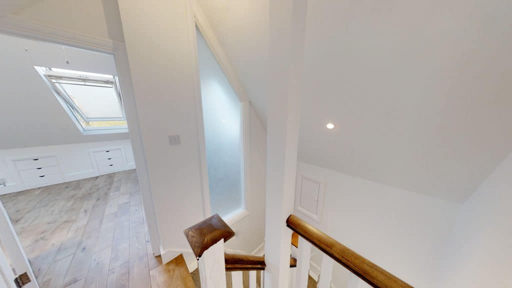 completed loft extension staircase