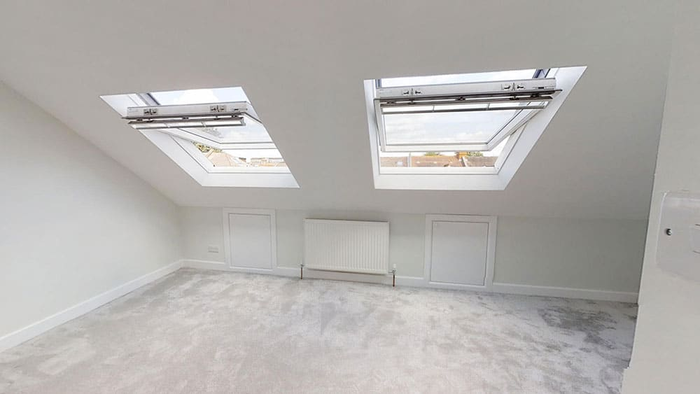 completed loft conversion double skylight