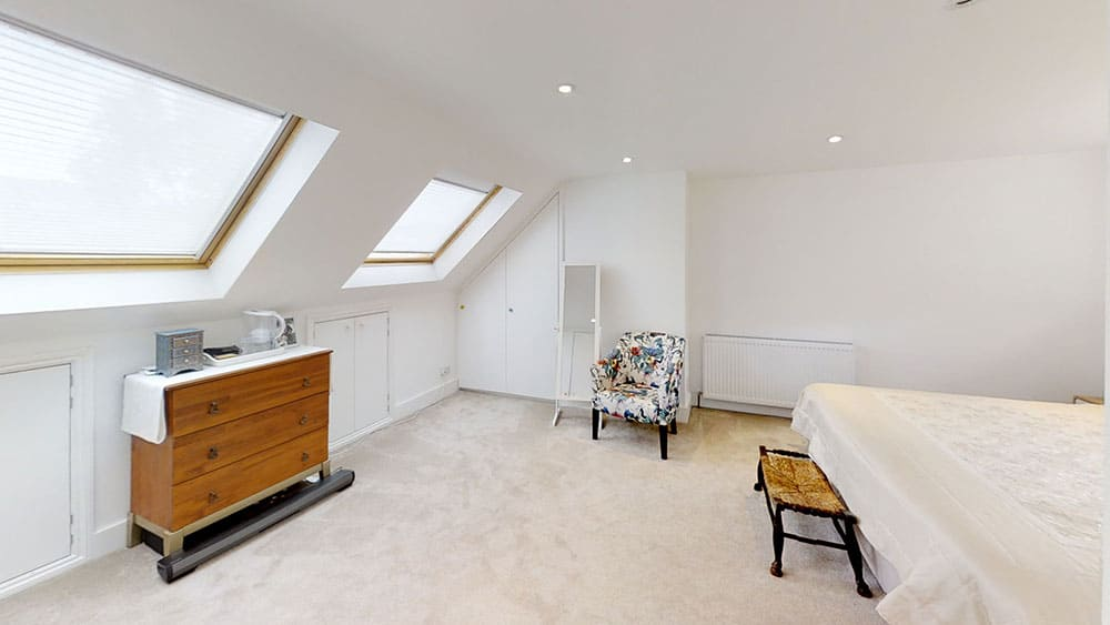 completed loft conversion master bedroom