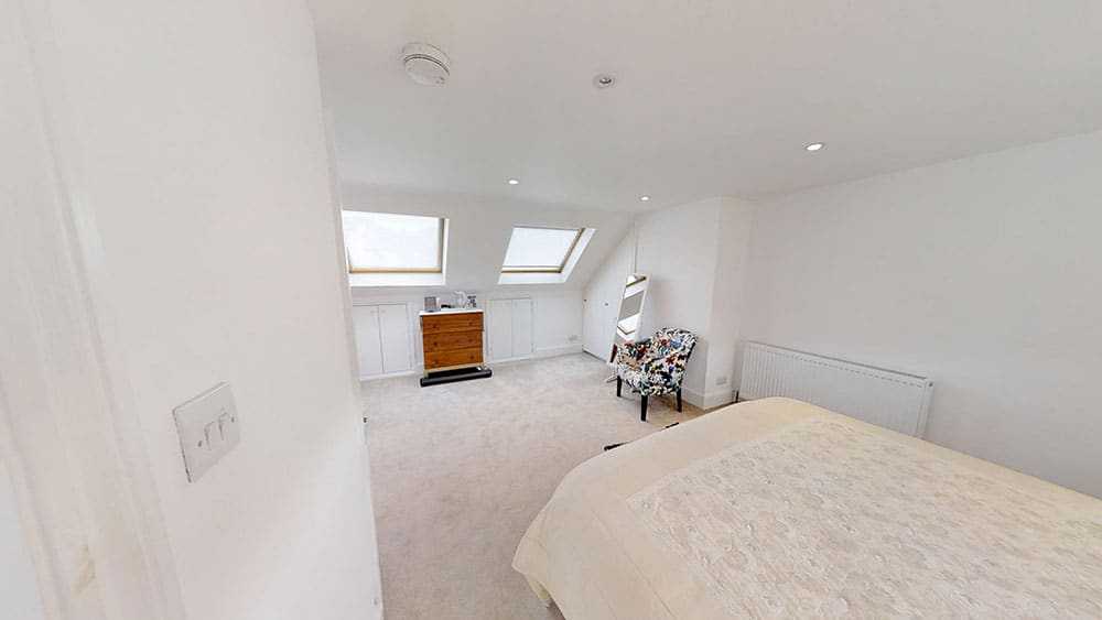 completed loft conversion guest bedroom