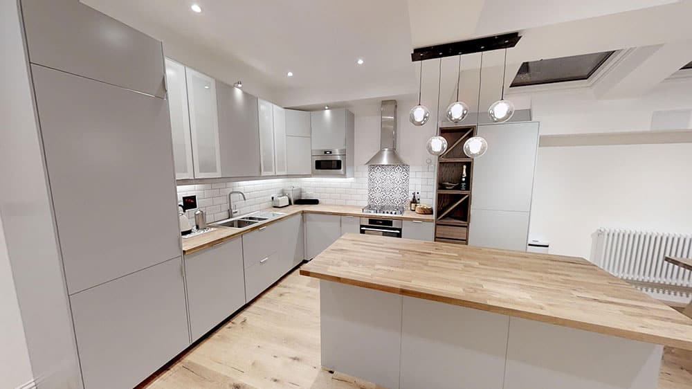 completed loft conversion kitchen Surrey road