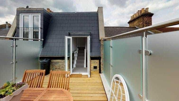 Completed roof terrace on loft conversion