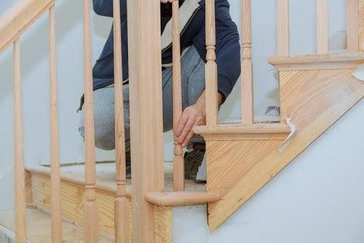 Light oak staircase installation